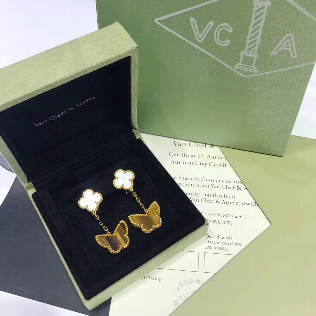 Replica van cleef & arpels Lucky Alhambra earrings 2 motifs