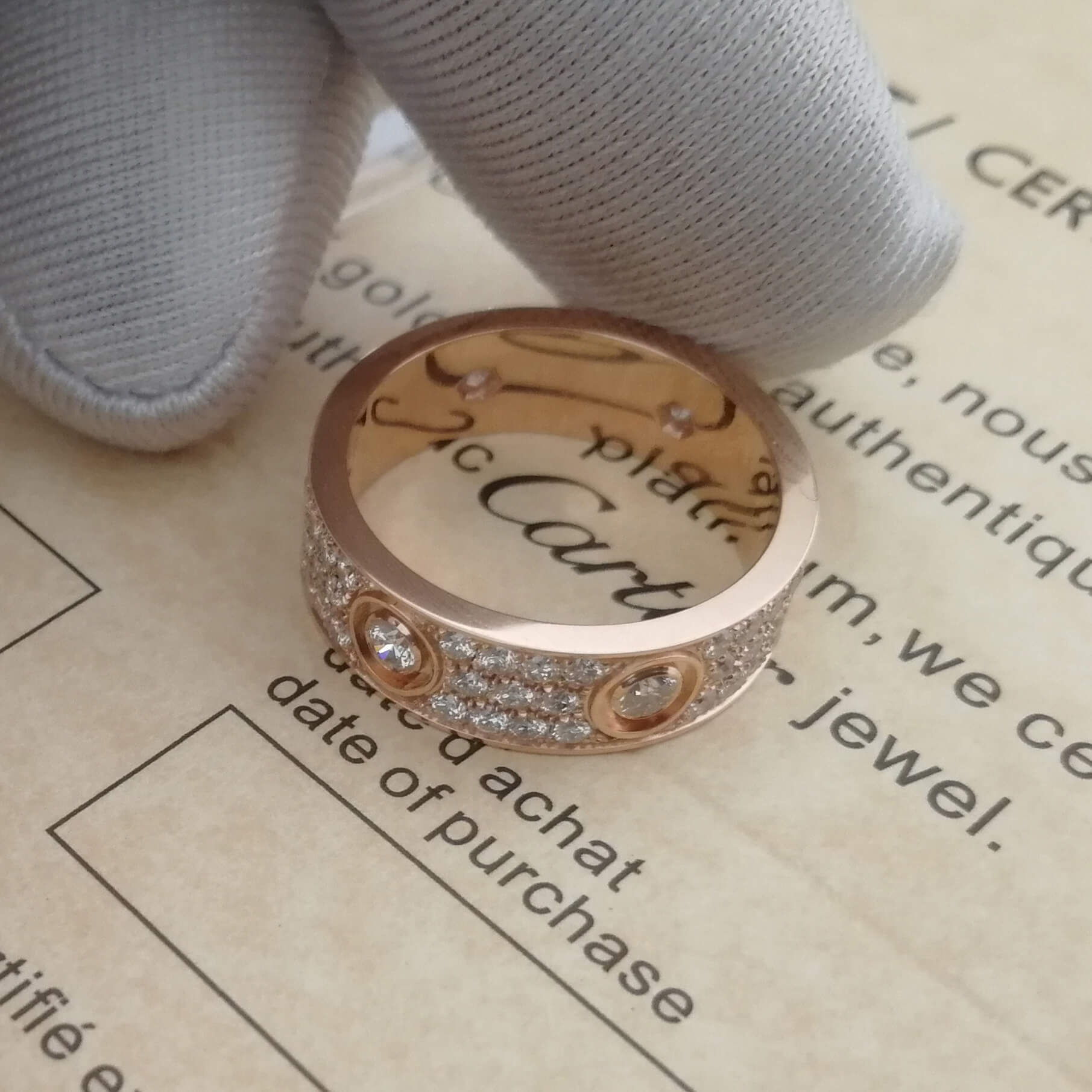 Replica Cartier Love Ring Paved Rose Gold